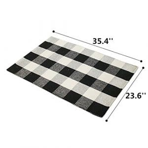 3. Ukeler Cotton Plaid Rugs 23.5''x35.4'' Black and White Throw Rugs