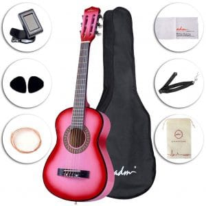 ADM Beginner 30 Inch Nylon Strings Classical Guitar, Pink