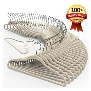 TechZoo Premium Quality No Slip Ultra -Thin Velvet Hanger Set of 50 - Ivory