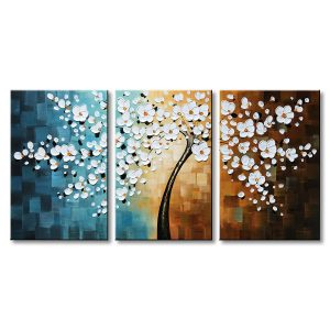 Winpeak Hand-Painted Modern Floral White Flower Canvas Wall Art