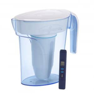 ZeroWater 6 Cup Pitcher ZP-006-4, with Water Quality Meter, White, and Blue