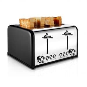 CUSIBOX Stainless Steel Toaster 4 Slice Toaster, Black