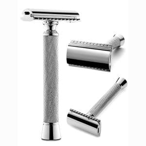 Perfecto Professional Double Edge (DE) Safety Razor for Men | Long Handle for Comfortable Wet Shaving|Stylish Luxury Chrome Finish|Enjoy the Closest