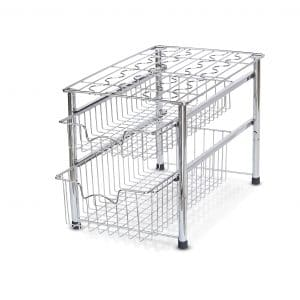 Simple Houseware 2 Tier Stackable Sliding Basket Organizer, Chrome