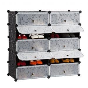LANGRIA 10-Cube DIY Storage Drawer Unit Shoe Rack