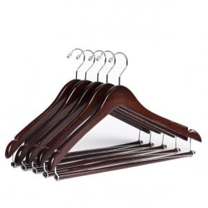 Quality Hangers Beautiful Sturdy 10 Wooden Hangers Chrome Hooks