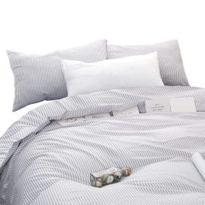 Wake in Cloud Gray White Striped Comforter Set