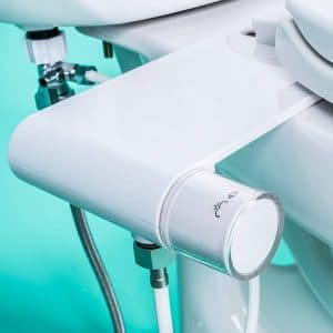 GenieBidet - Rear & Feminine Ultra Thin Toilet Attachment with Self Cleaning Dual Nozzles - No Wiring Needed - Simple 10-20 Minute Install. Hybrid Brass 3-way T connector with ON:OFF Included!