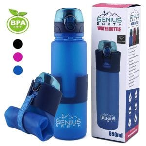 Genius Earth Foldable Portable Collapsible Water Bottle