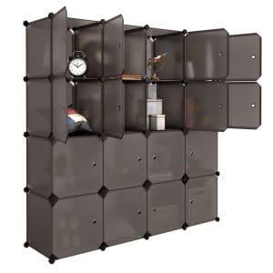LANGRIA 16 Cube Organizer Multifunctional Plastic Stackable Storage Shelves