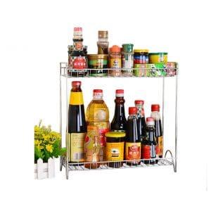 Sweetdecor 2-Tier Standing Rack Spicy Shelf Spice Rack - Chrome
