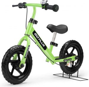 "Goplus 12"" Kids Balance Bike, No Pedal Bicycle w Adjustable Bar and Seat, Brake, Bell Ring, Stand, for Ages 2 to 6 Years, Pre Bike Push Walking Bicycle"