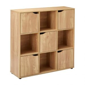 #8. Home Basics Natural Wood Cube Shelves with Doors,Cube Storage