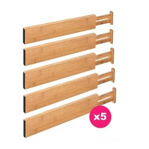 RAPTUROUS Bamboo Expandable Drawer Organizers
