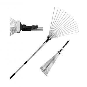 TABOR TOOLS J16A Adjustable Folding Telescopic Metal Garden Leaf Rake