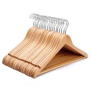 AMKUFO High-Grade 24 Pack Wood Suit Hangers, Natural