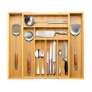 BAYKA Expandable Kitchen Silverware Drawer Organizer