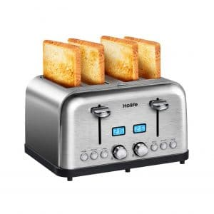 Holife 4 Slice Toaster Stainless Steel Toaster with 2 LCD Timer Display