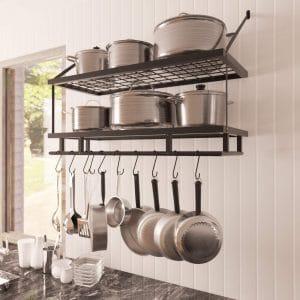 KES 30-Inch Kitchen Pan-Pot Rack Wall Mounted Organizer