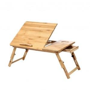 KKTONER Stand Up Bamboo Foldable Breakfast Table