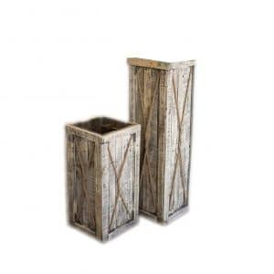 Kalalou Set of 2 Recycled Wooden Tall Planters