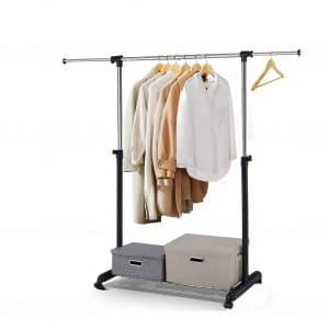 Leaflai Clothes Garment Rack Standard Rod with Wheels