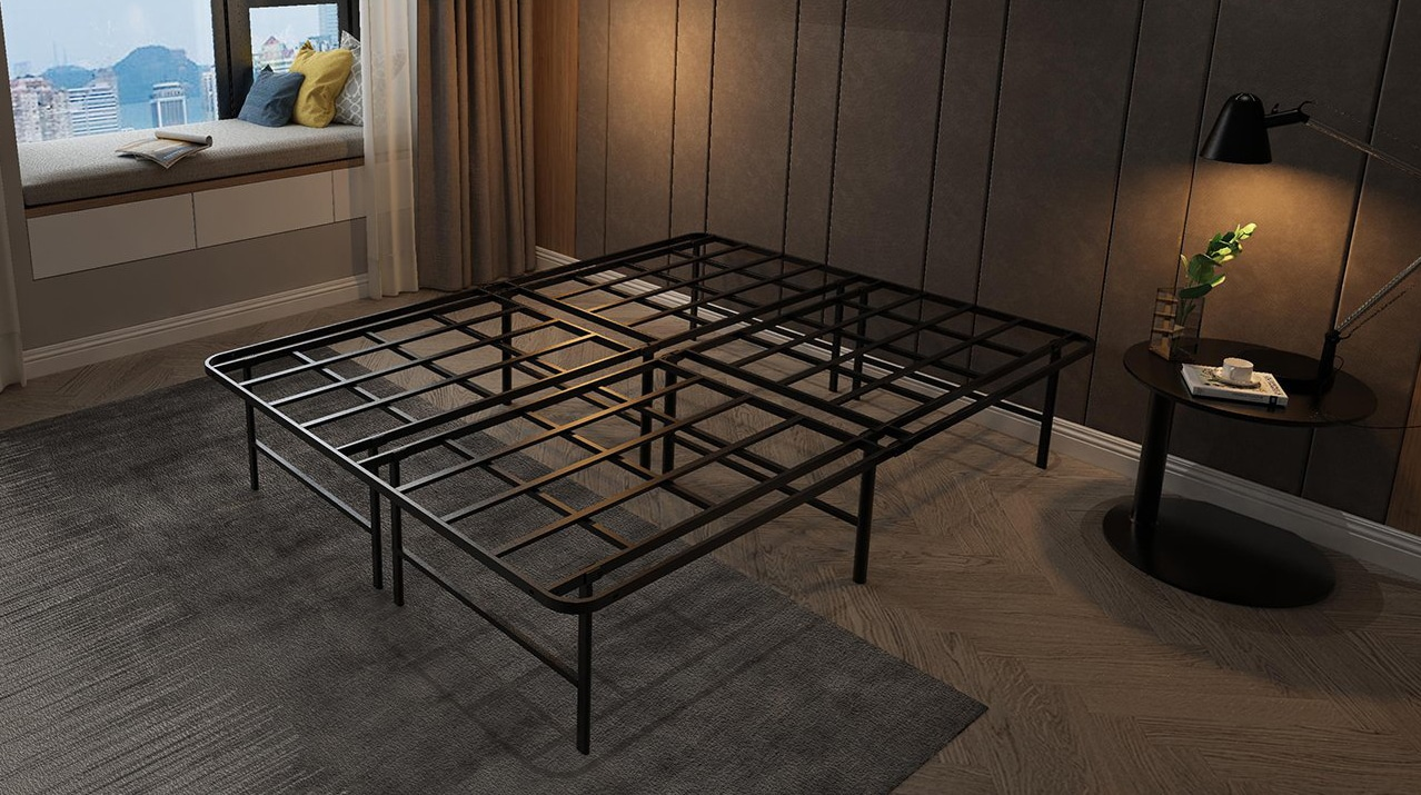 Metal Slat Bed Frame 14 Inch High with Non-Slip Structure and Floor protectors