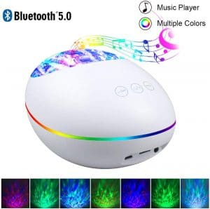 Bluetooth Ocean Wave Projector Lamp with 7 Color Mode 8 Built-in Music 4 Music Play Mode, Remote Control LED Projector Night Lights