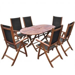 Festnight 7 Piece Outdoor Dining Set with 6 Foldable Chairs - Space Saving
