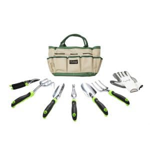 Finnhomy Garden Tool 8 Piece Set with Work Gloves and Tote Bag