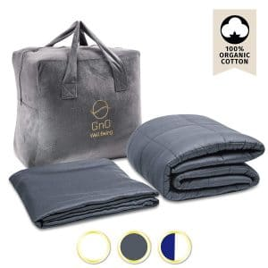GnO Cooling Weighted Blanket Adult & Cool Bamboo Duvet Cover   20 Lbs  60''x80''  100% Breathable Organic Cotton (400TC) & Premium Micro Glass Beads   Fit Queen Size Bed   Dark Gray