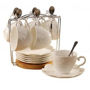 Jusalpha White China Tea Cup and Saucer
