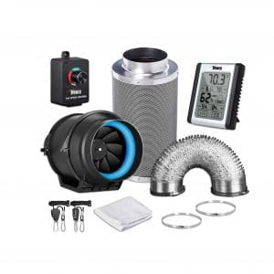 iPower 6 Inch GLFANXEXPSET6D8CHUMD 350 CFM Inline Carbon Filter, Black