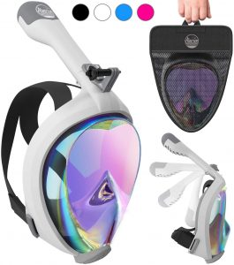 Foldable 180 Degree Panoramic View,Anti-Fog and Anti-Leak,Detachable Camera Mount,Scuba Mask for Adult and Kids Limechoes Snorkel Mask,Full Face Snorkeling Mask,Dry Snorkel System,Diving Mask