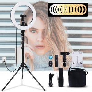 GLOUE 18 Inches Ring LED Light Dimmable with Tripod Stand