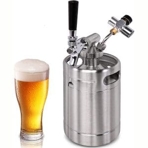 Pressurized Beer Mini Keg System 64oz Stainless Steel Growler Tap, Portable Mini Keg Dispenser Kegerator Kit, Co2 Pressure Regulator Keeps Carbonation
