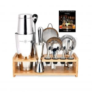 WINTER CASTLE SIilver Pro Cocktail Shaker 18 Pieces