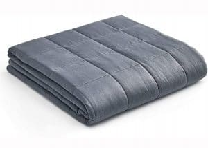 YnM Weighted Blanket — Heavy 100% Oeko-Tex Certified Cotton Material with Premium Glass Beads (Dark Grey, 48''x72'' 15lbs), Suit for One Person
