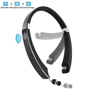 JISUSU Bluetooth Headset,with External Speaker, 2 in 1 Wireless Sport Headphone Speaker V4.1 Foldable Neckband with Retractable Earbuds Built in Speaker Microphone for Android and ISO, Clear