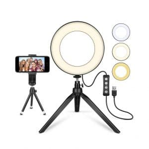 LED Ring Light with Tripod Stand 10 for Video and Makeup Cell Phone Holder Desktop LED Lamp with 3 Light Modes Plastic