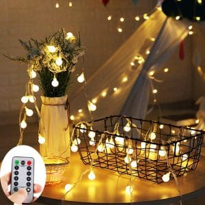 ZOUTOG Battery Operated String Lights, 33ft:10m 100 LED Bulb Warm White Globe String Lights with Remote Controller, Decorative Timer Fairy Light for Christmas:Wedding:Party Indoor and Outdoor
