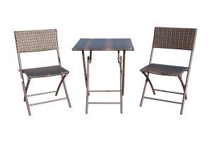 GOJOOASIS Folding Table & Chair Rattan Set, Brown