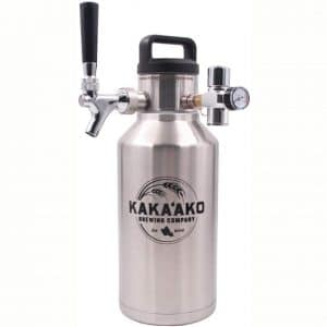 Kakaako Brewing Co - 64 oz Pressurized Growler and Dispenser Tapping System with CO2 Regulator and Faucet with Tap