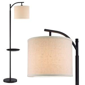 "Kira Home York 63"" Minimalist Tray LED Floor Lamp (7W LED, Energy Efficient:Eco-Friendly) + Honey Beige Shade - Modern Standing Arc Light with Hanging Lamp Shade, Black Finish"