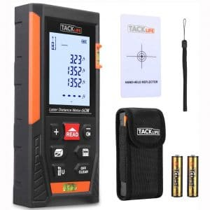 Tacklife HD60 Classic Laser Measure 196Ft M In Ft Mute Laser Distance Meter with 2 Bubble Levels, Backlit LCD and Pythagorean Mode, Measure Distance, Area and Volume