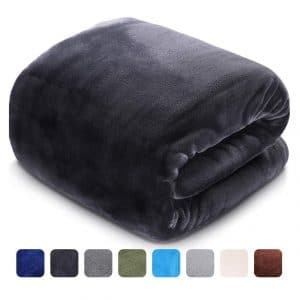 LEISURE TOWN Soft Blanket Queen Size 3D AIR-Fiber Fleece Cooling Blankets for All Season Lightweight Warm, Luxury Cozy Plush Throw Blanket for Sofa Bed Couch, 90 by 90 Inches, Dark Grey