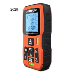 LOMVUM Laser Distance Measure with Mute Function Large LCD Backlight Display Measure Distance,Area and Volume,Pythagorean Mode Battery Included (LV5800 262ft:80m)