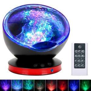 Ocean Wave Projector, Night Light Lamp with Adjustable Lightness Remote Control Timer 8 Lighting Modes Music Speaker Light Show LED