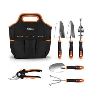 TACKLIFE 7 Piece Stainless Steel Garden Tools Set, Black, and Orange