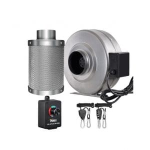 iPower 190 CFM 4 Inch Inline Fan Carbon Filter Combo